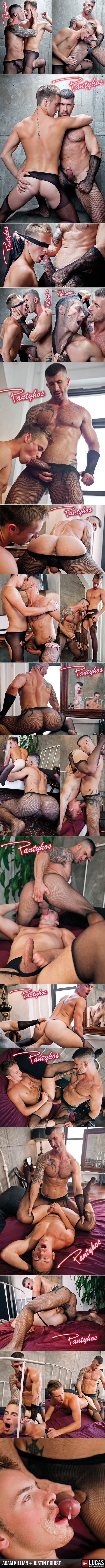 "Lucas Raunch: Justin Cruise slips into stockings for Adam Killian in ""Pantyhos"""